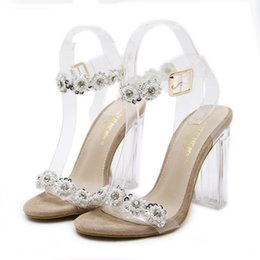 Wholesale Silver Glitter Chunky High Heels - 2018 Beaded Crystal Transparent Clear PVC Shoes Women High Heel Wedding Shoes Gold Silver
