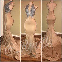 Wholesale Beaded Halter Mermaid Plus Size - 2018 Modern Champagne Prom Dresses Halter Plunging V neck Mermaid Backless Long Evening Gowns With Silver Lace Applique