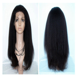 Wholesale Synthetic Kinky Straight Lace Front - Kinky Straight Synthetic Lace Front Wigs 1B# Italian Yaki Synthetic Swiss Lace Wigs Heat Resistant Fiber Glueless Lace Wigs for Black Women