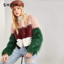 fd33a4008b SHEIN Multicolor Color Block Faux Fur Coat Casual Highstreet Patchwork Long  Sleeve Outerwear Women Winter Modern Lady Coats C18110901