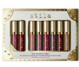 Estancia de labios online-Marca Stila Star Tachonado 8pcs Lápiz labial líquido Conjunto de brillo de labios Quédate todos los días Lápiz labial líquido Stila de brillo duradero de larga duración