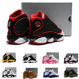 Wholesale Kids Halloween Shoes For Girls - 2018 13 basketball shoes for kids black red white 13s Black cats Bordeaux XIII sneakers boy girl children US11C-US3Y