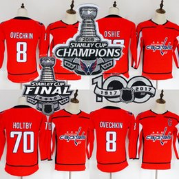 Wholesale youth hockey cup - Youth Washington Capitals Jersey 2018 Stanley Cup Champion Patch 8 Alex Ovechkin 70 Braden Holtby 77 T.J. Oshie Blank Hockey Jerseys