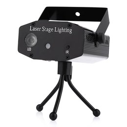 Wholesale Disco Mini Laser Blue - Mini LED Laser Pointer Disco Stage Light Party Pattern Lighting Projector Show IR Remote 9W RGB Laser Projector Lamps Blue Black