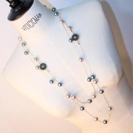 Топ бренд роскошь длинный стиль свитер Ожерелье для женщин платье ювелирные изделия Перл цепи Дейзи прелести бисером ожерелье партии одежда от Поставщики добавить долго