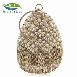 Wholesale Rivers Fashion - Mystic River Women Water Drop Shaped Pearl Floral Pattern Cocktail Purse Bridal Rhinestone Evening Bag With Crystal Tassel