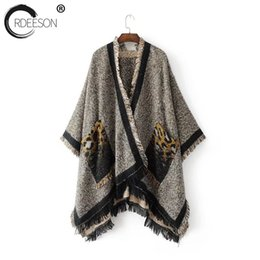 Wholesale Cardigan Sweaters Large Women - ORDEESON Tassel Leopard Large Pockets Poncho Long Cardigan Fall 2017 Fashion Cardigan Women Oversized Sweater Knitted Sweater