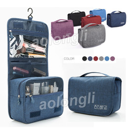 Wholesale large hanging travel bag - 2018 Hanging Toiletry Bag Wash Travel Organizer Bag Makeup Cosmetic Bags case with Hanging Hook Waterproof Bathroom Pouch Large Capacity