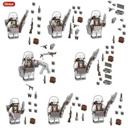 Wholesale Soldier Sets - Wholesale-Oenux WW2 8PCS The Battle Of The Caucasus Military Building Block Set Military Special Force Snow Soldiers Figures Brick Kid Toy
