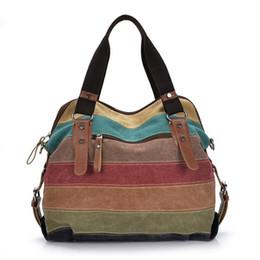 Wholesale Pandora Tote - Fashion Women Canvas Bag Female Casual Crossbody Handbags Ladies Canvas stripe Handbag Shoulder Large Capability Crossbody Bags