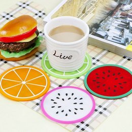 Wholesale Insulation Gel - 2016 New Household Colorful Jelly Color Fruit Shape Coasters Creative Skid Insulation Cute Silica Gel Cup Mat 8.8*8.8CM A034