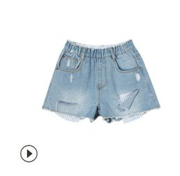 Wholesale Japan Fashion Jeans - Children jeans hot shorts fashion girls hole denim shorts mother daughter beach shorts kids double pocket elastic casual short pants Y8045