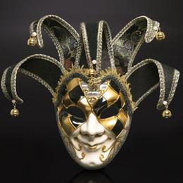 2019 clowns en plastique Mode vénitien mascarade masques en plastique pleine tête masque pour festival halloween fête clown décoration fournitures vente chaude 45wp bb clowns en plastique pas cher