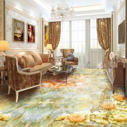 Fiori moderni viventi di carta da parati online-Modern Luxury Wall Mural Flowers Jade Peony Large Murales Personalizzato 3D Stereo Photo Wallpaper Soggiorno in PVC autoadesivi