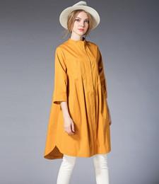 2019 camisa naranja de manga larga para mujer. Camisa de vestir larga elegante del collar del soporte del tamaño extra grande de las mujeres 3/4 mangas (amarillo / naranja / rojo) camisa naranja de manga larga para mujer. baratos
