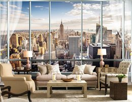 Wholesale Outside Window - Photo Wallpaper Custom 3D Stereo Latest Outside The Window New York City Landscape Wall Mural Office Living Room Decor Wallpaper