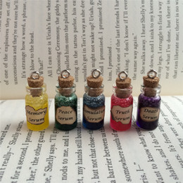 Wholesale Death Pendants - 12pcs lot Memory Peace Simulation Truth, Death Serum Bottle Necklace Pendant Keyring