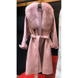 женщины пальто шерсть розовый элегантный Скидка 2018 New Elegant Wool Cashmere Clothing For Women Autumn Real Wool Outwear Quality Jacket Extra Long Pink Real Coat