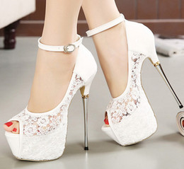 chaussures de carrière pour femmes Promotion 2018 spring and autumn women stiletto sandals nightclub fashion new party lace super high heels metal with fish mouth