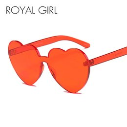 a1486999ef451 ROYAL GIRL 2018 Love Heart Shape Sunglasses Women Candy Color Rimless Tint  Clear Lens Glasses Red Pink Yellow Shades UV400 ss699