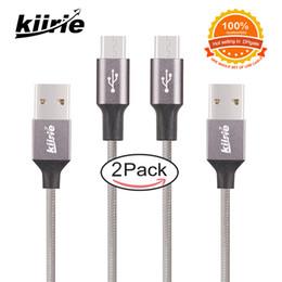 Mejor cable de carga usb online-La mejor calidad Cable micro USB Cables de carga duraderos Kiirie 2 Pack 0.5m 1.5m Nylon Trenzado 6000+ Bend Lifespan Cable USB de alta velocidad al por menor