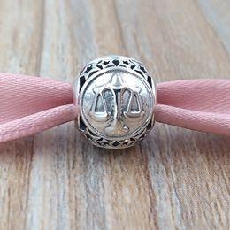 Libra halsketten online-Libra Sternzeichen Charm 925 Sterling Silber Perlen für europäische Pandora Style Schmuck Armbänder Halskette 791942