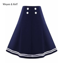 2019 pannello esterno a matita blu scuro Weyes Kelf Button Vita alta Retro Gonne Donna Blu scuro Elegantes 2018 Summer Skirt Gonne al ginocchio per donne Faldas