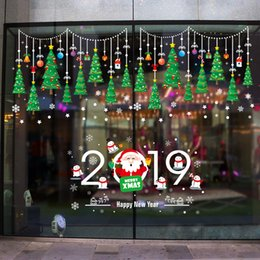 2019 виниловый виниловый винил DIY белый снег Рождество стены стикеры окна стекла фестиваль наклейки Санта фрески Новый год рождественские украшения для домашнего декора