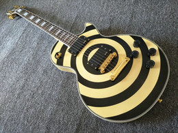 Wholesale White Guitar Black Hardware - Custom Shop Zakk Wylde bullseye Cream & Black Electric Guitar EMG 81 85 Active Pickups ,9V Battery Box, White MOP Block Inlay, Gold Hardware
