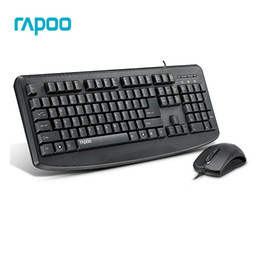 Wholesale Mouse Rapoo - Original Rapoo NX1720 Waterproof Wired Ultra-thin Exquisite USB Mouse and Keyboard Combo - Black For Gaming PC