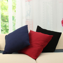 Wholesale Knitted Seat Cushion - Pillow Cover Cotton Linen Solid Color Cushion Pillow Case Cover Decorative Chair Seat Square 45x45cm Home Living Room