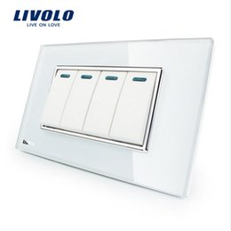 Wholesale Crystal Home Button - Manufacturer Livolo Luxury White Crystal Glass Panel, 4Gang, 2 Way Push Button Home Wall Switch,VL-C3K4S-81