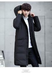 parka slim pour hommes Promotion Mens hiver chaud épaissir vers le bas manteaux de mode couleur unie à capuche mince manteaux en duvet mâle longue survêtement bas Parkas mens manteau de vêtement