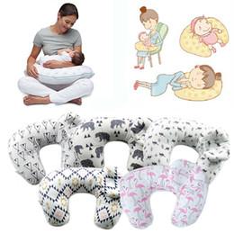 Wholesale Maternity Nursing Set - Baby Nursing Pillows Maternity Baby Breastfeeding Pillow Infant Cuddle U-Shaped Newbron Cotton Feeding Waist Cushion 2Pcs Set