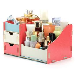 Caja de almacenamiento de madera caja de organizador de maquillaje caja de organizador hecho a mano bricolaje organizador cosmético caja de almacenamiento de madera desde fabricantes