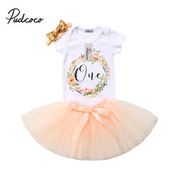 54e422d65a299 3 pcs / set Infantile Bébé Fille Fleur T-Shirt Tops Romper Body Tulle Tutu  Robe Jupe Bandeau Tenue Bébé Filles D'anniversaire Vêtements fleurs de  tulle pour ...