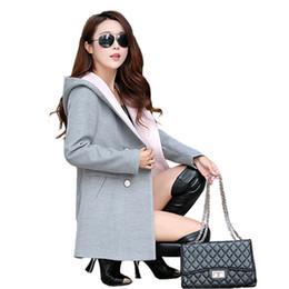 casacos para mulheres Desconto Novas Mulheres Da Moda Blends de Lã Quente Simplicidade Casacos de Manga Longa Das Mulheres Magro Bolsos Espessamento Senhoras Magras Casaco De Lã Formal
