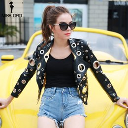 Wholesale Black Metal Jacket - Missord 2017 Autumn Winter Metal Ring Hollow Out Black Gold Long Sleeves Cool Leather Jacket Coat FT8491
