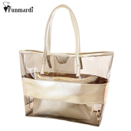 Wholesale Clear Jelly Tote - New arrival Summer transparent beach Bag Trend Panelled bag jelly candy clear PVC composite women handbag WLHB1117