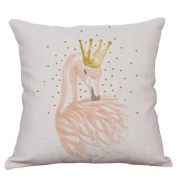 2019 перья фламинго Хлопок и лен площадь наволочка моющиеся декоративные бросить наволочка печатных перо фламинго полоса шаблон чехлы 13 5XS BB дешево перья фламинго