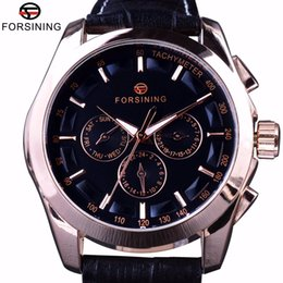 золотые часы мужские ручные Скидка Forsining 2017 3 Dial 6 Hands Rose Golden Case Male Wristwatch Genuine Leather Band Mens Watch Top  Automatic Watch