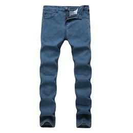 Jeans reta alta cintura homens on-line-2018 calças de Brim Dos Homens Novos Homens Da Moda Jeans Casual Fino Em Linha Reta Alta Elasticidade Pés Cintura Solta Longo