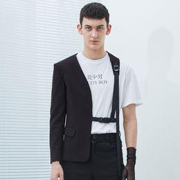 2019 блейзер дизайн шеи для мужчин  S-5XL 2017 мужская одежда мода Star GD стилист Односторонний дизайн личности без воротника костюм плюс размер костюмы певца