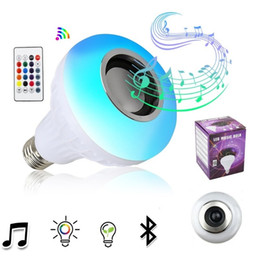 Wholesale Led Corn Light Bulb - E27 Smart RGB Wireless Bluetooth Speaker Bulb Music Playing Dimmable 12W LED Bulb Light Lamp with Remote Control + In Stock