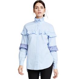 Blusa de colar de babados mais tamanho on-line-Mulheres Blusa Plissado Plissado 2018 Primavera Verão Moda Gola Manga Longa Babados Patchwork Camisas Senhora Do Escritório Trabalho Tops Plus Size