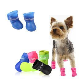 pet shoes for small dogs Coupons - 4pcs set Pet Dog Shoes Waterproof Rain Pet Shoes for Dog Puppy Rubber Boots Candy Color Puppy Shoes Pet Products