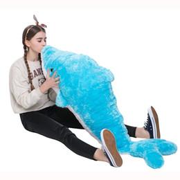 Almohadas de animales gigantes online-Almohada de juguete de felpa de peluche de delfín gigante Muñeca de juguete personalizada con su mensaje, regalo impresionante único para cumpleaños