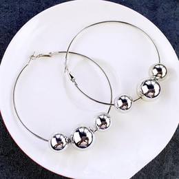 Wholesale Beaded Circle Earrings - whole saleFishSheep Vintage Silver Color Loop Beaded Earrings For Women 7CM Pendant Ball Big Circle Hoop Earrings Female Fashion Jewelry