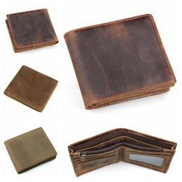 Wholesale Vintage Money Clips - 3 Colors Men Crazy Horse Leather Retro Short Bifold Wallet Cowhide Coin Purse Card Holder Money Clips Slim Vintage Purse CCA8941 10pcs