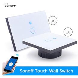 2019 interruptor de luz doble control remoto En lugar de Sonoff Interruptor Wifi Interruptor táctil de pared Control remoto inalámbrico Panel de vidrio de EE. UU. 1Way Interruptor de tiempo Automatización del hogar inteligente